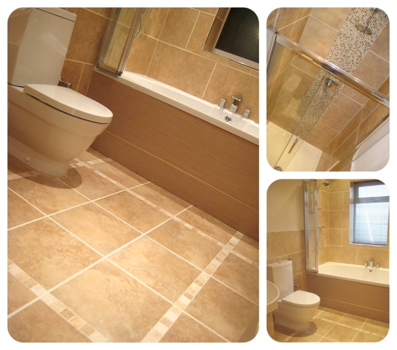 Moregeous Design : Family bathroom with pale limestone effect porcelain tiling and oak finishing