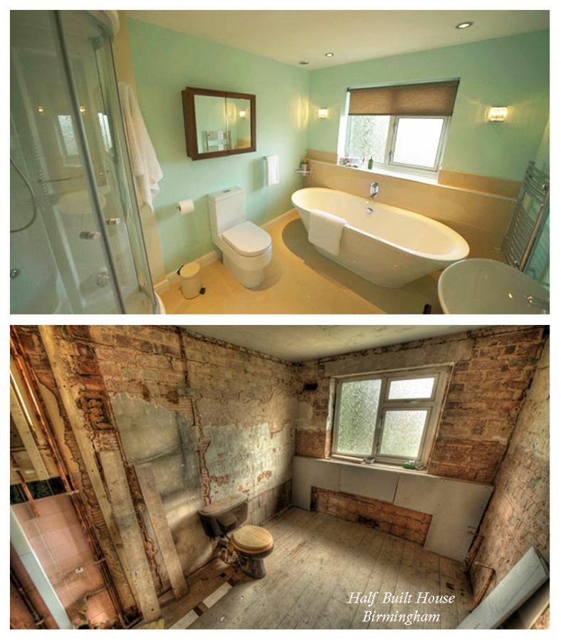 Channel Five's Half Built House Birmingham - Bathroom & Home Office designed by Sian Astley