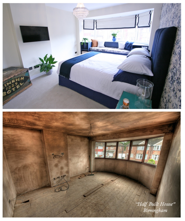 Channel Five's Half Built House Birmingham - Bedroom designed by Sian Astley @Moregeous