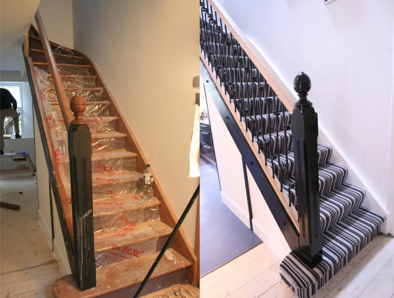 Channel Five's Half Built House Perthshire Staircase, designed by Sian Astley @Moregeous