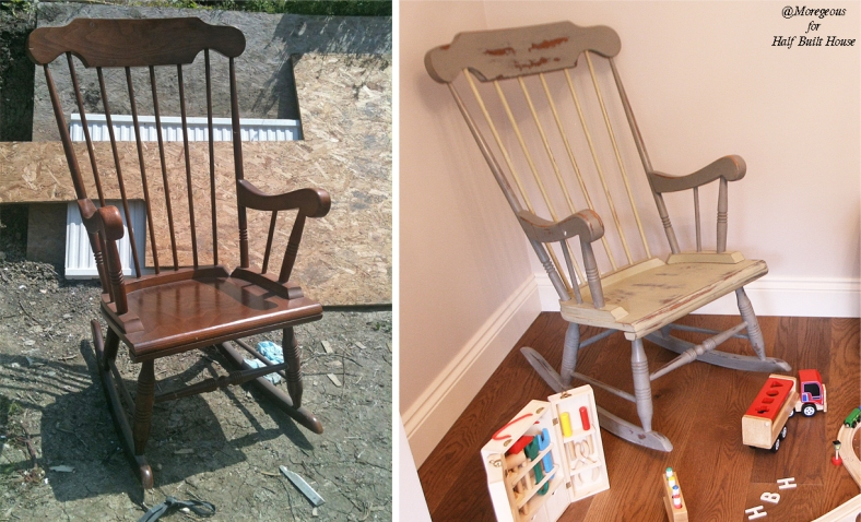 Mahogany rocking chair chalk painted & waxed by @Moregeous