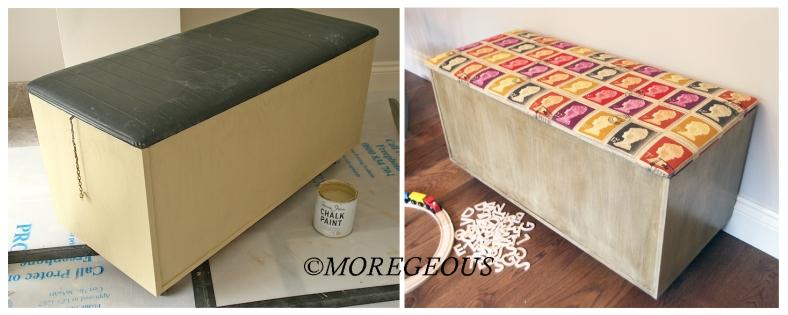 Chalk painted, waxed & re-upholstered toy box by @Moregeous & Glynn Smallwood