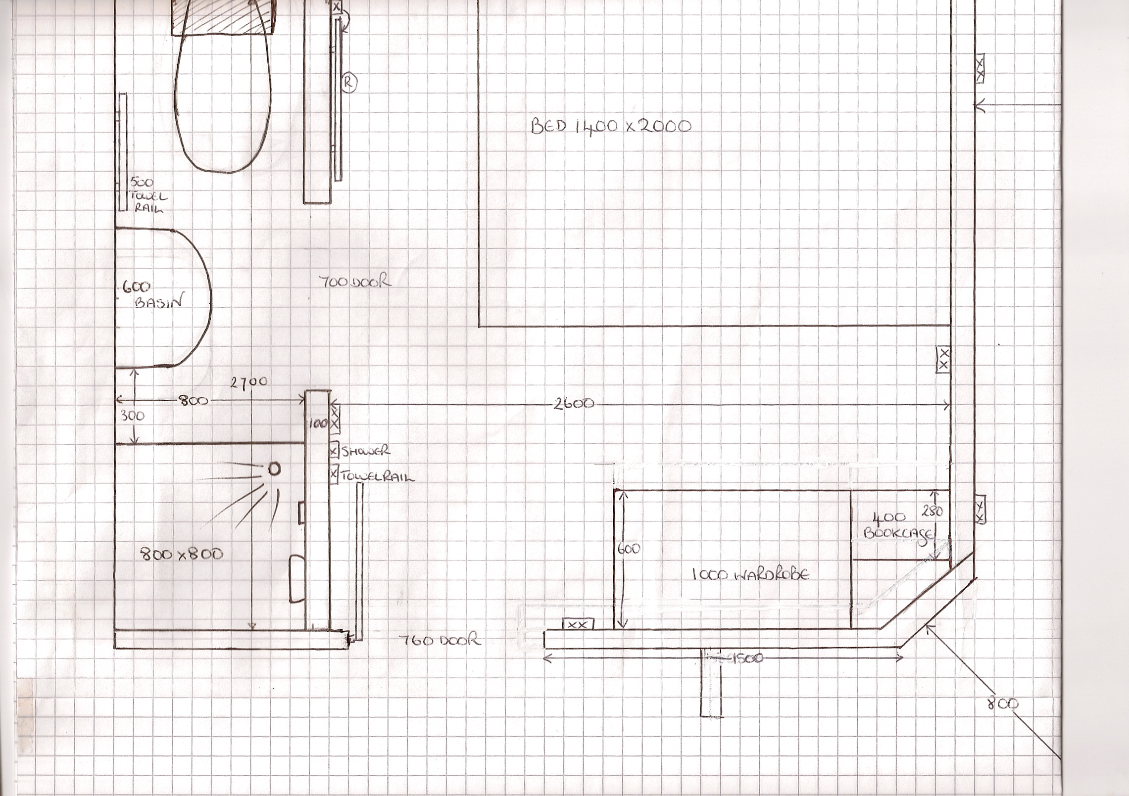 Project squeeze layout explained and completed shower Room layout design online