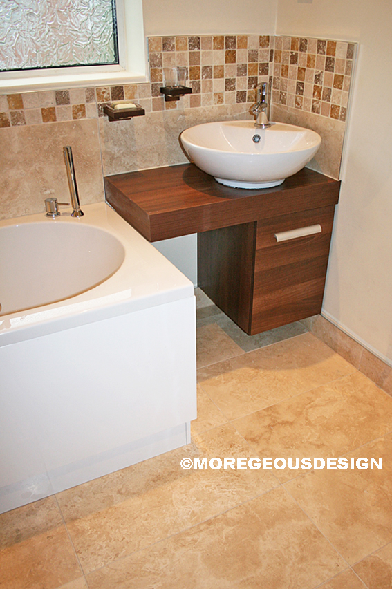 Project Tofu Finished Travertine And Walnut Bathroom
