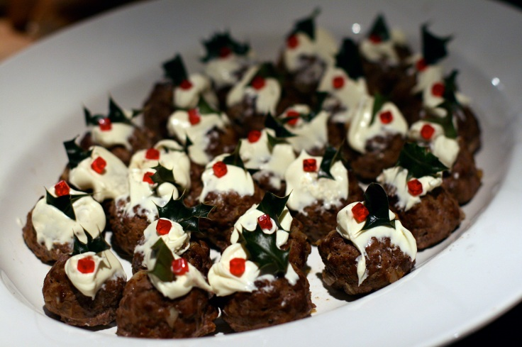 Christmas pudding meatballs with creme fraiche & holly