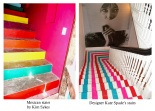 Bright painted coloured stairs