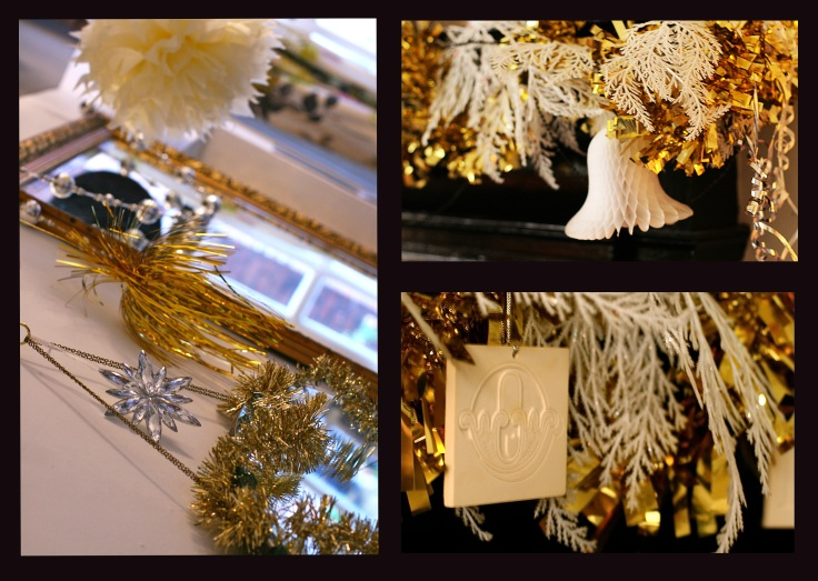 Christmas 2012 Gold tinsel and white decoration