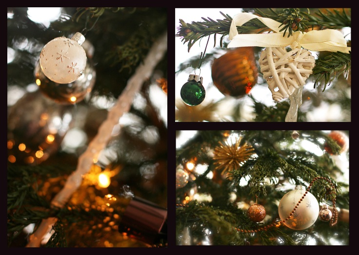 Christmas 2012 : Bronze, white and silver tree decorations