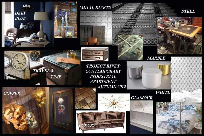 Moodboard / Ideas board for an industrial, vintage, glamorous interior design look