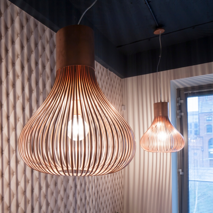 Upcycled and sprayed copper metallic lights against trompe l'oeil Rockett St George padded beige wallpaper