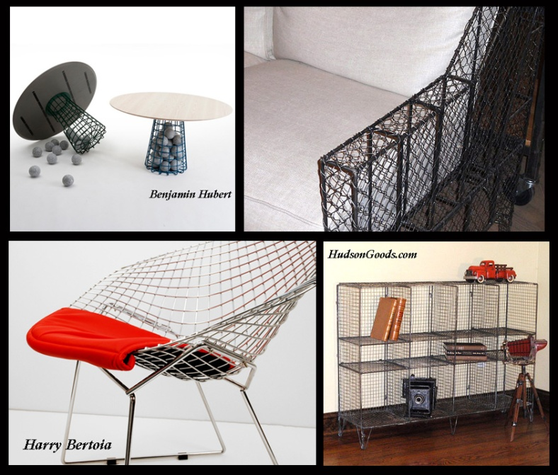 Collage of industrial style cage / wire furniture