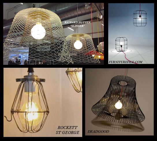 Collage of cage / wire pendant lights