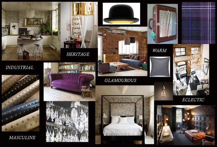 Project Rivet interior design initial moodboard