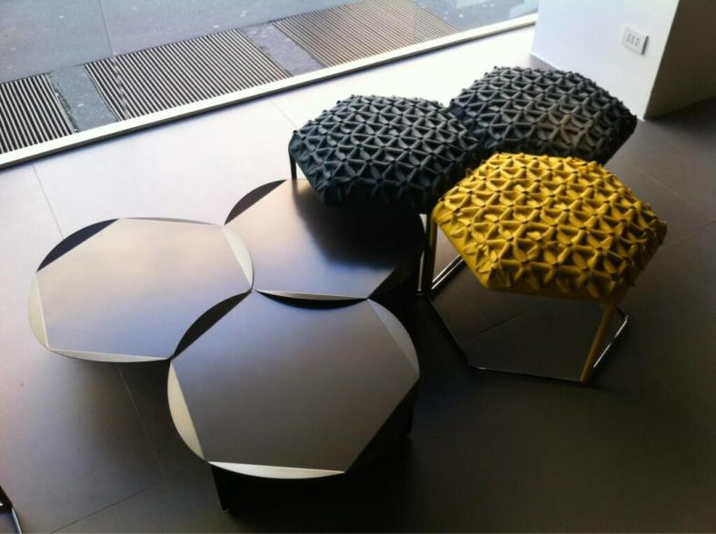 B&B Italia Milan 2013 Hexagonal tables and padded stools. Curve Interior Design image