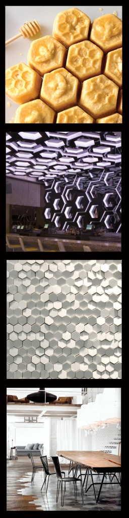 Interior design using hexagons and honeycomb patterns
