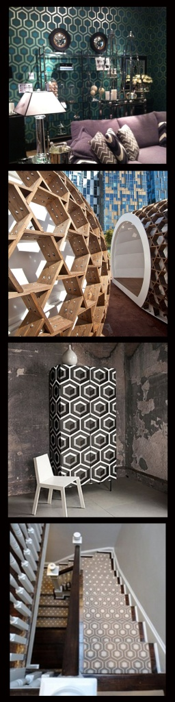 Interior design using hexagons and honeycombs