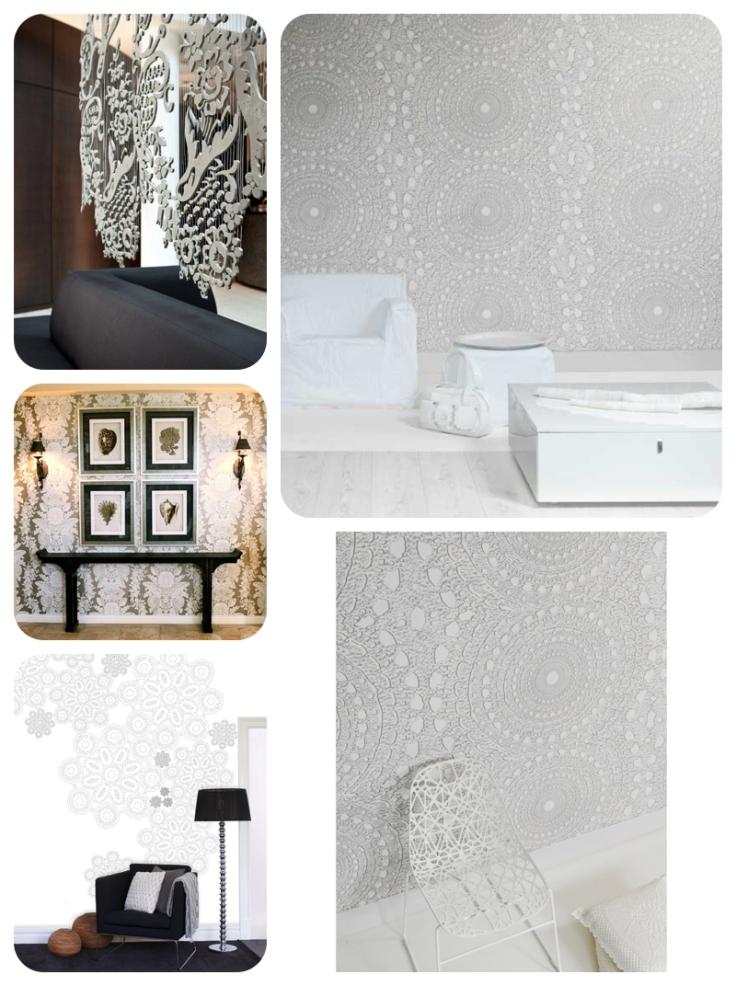 Interior design Lace wallpaper and designs