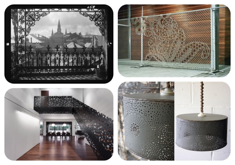 Clockwise: Top left:  Iron lace work in New Orleans; Unknown fence work; metal pendant at Rockett St George; Iron staircase by Gestion René Desjardins