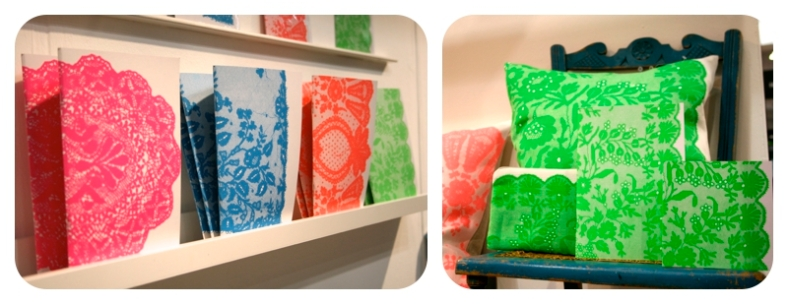 Neon lace homeware by Annie Little