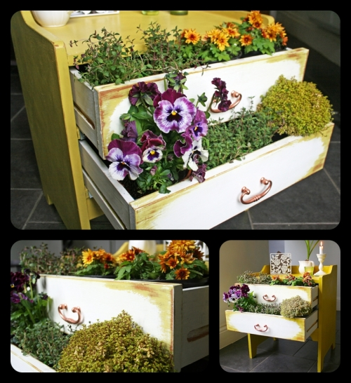 Old pine drawers chalk painted and upcycled to make an indoor garden planter