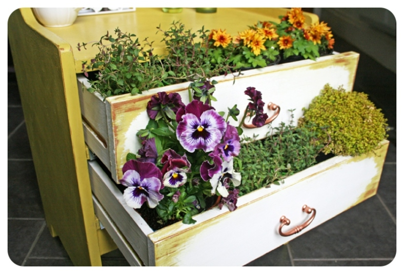 Upcycled wooden drawers to make garden planter