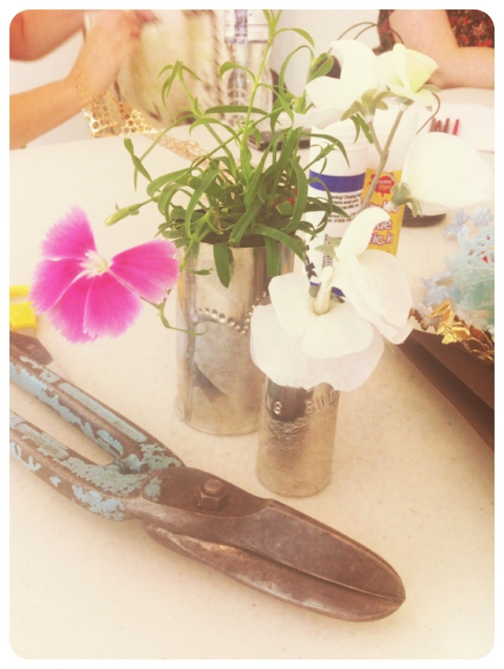 Pewter vases and tin snips