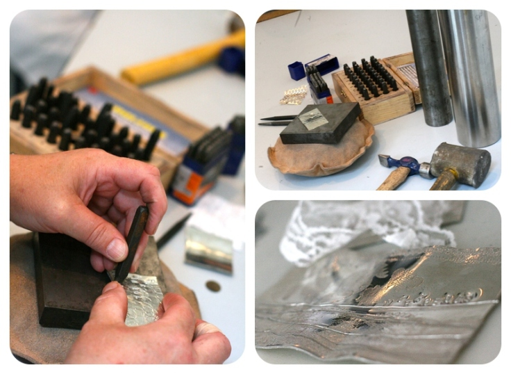 Stamping pewter with letters and numbers