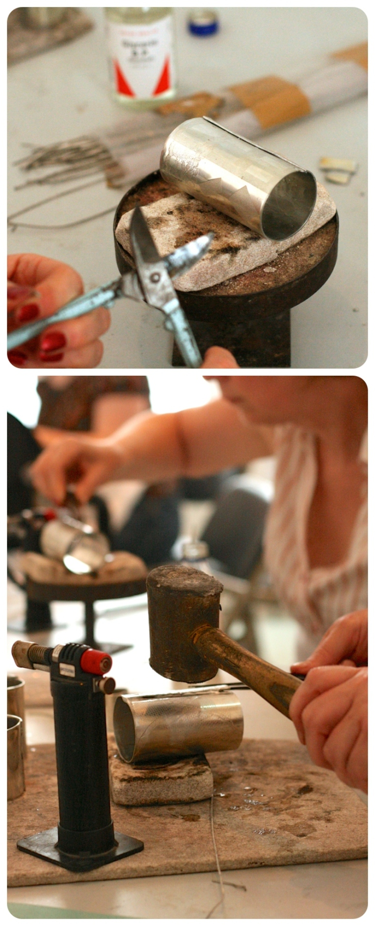 Learning how to work with pewter. Craft course at Manchester Craft Centre on pewter skills