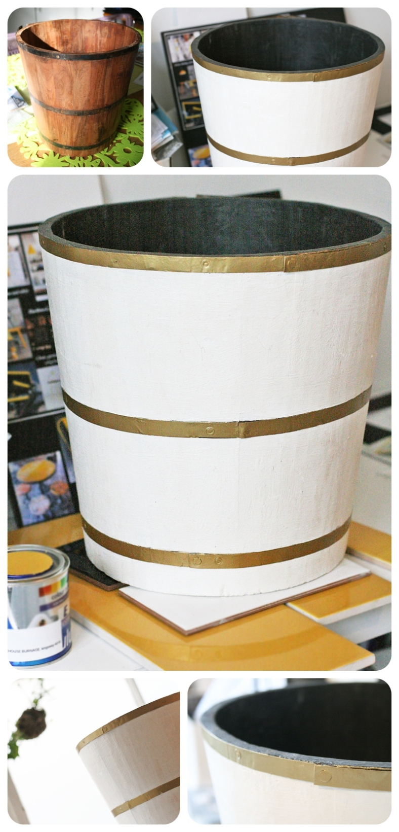 Upcycling a wooden waste paper bin