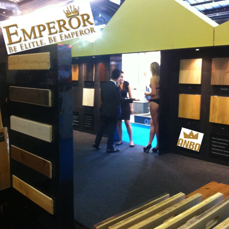 Anbo / Emperor Flooring stand using girls in Bikinis in 2013 at the Flooring Show