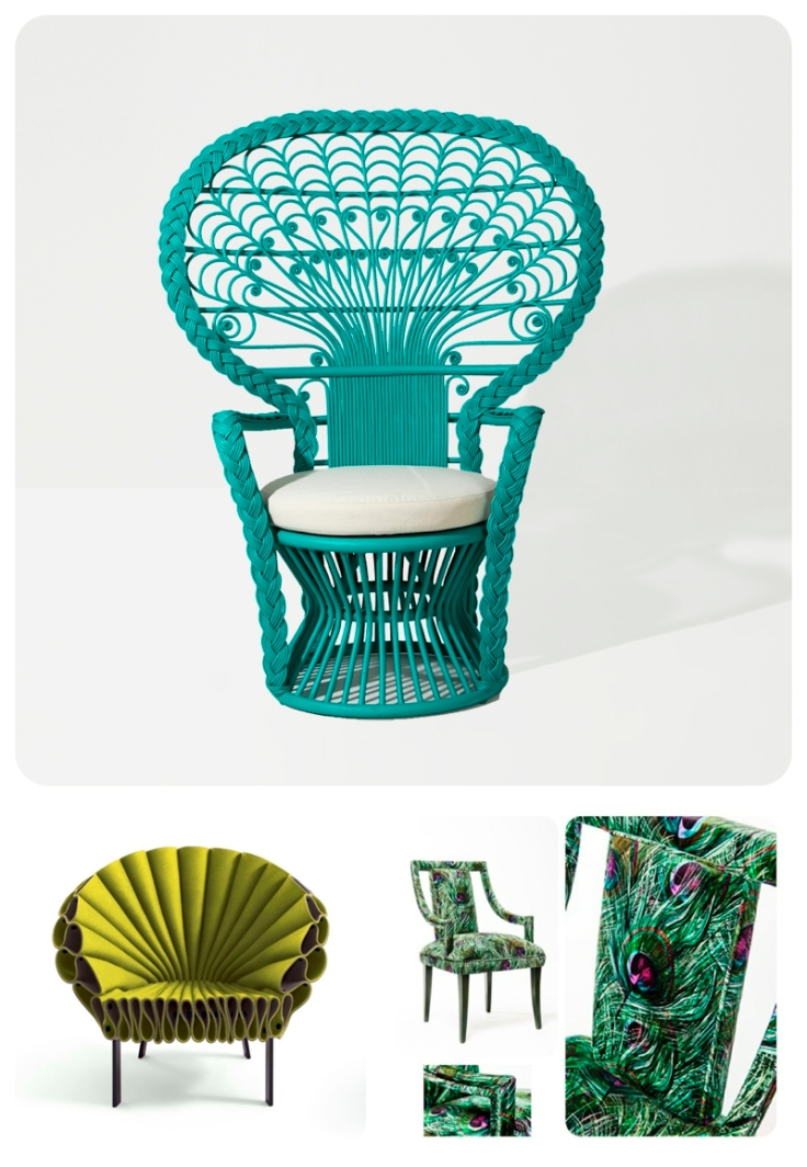 Peacock chairs by The Family Love Tree (Au), Dror and Munna