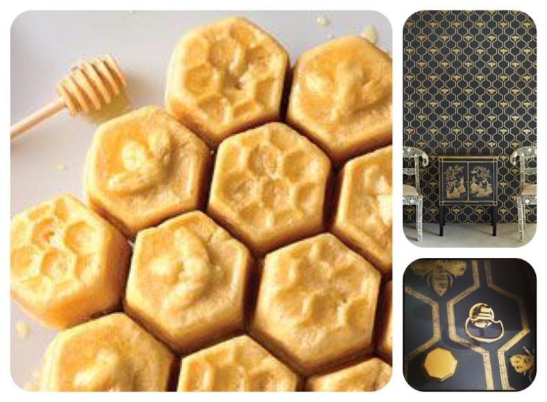 Honeycomb hexagon honey cake