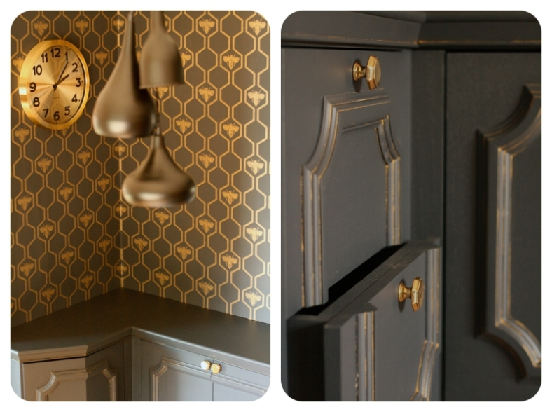 Hexagon wallpaper in black & gold home office