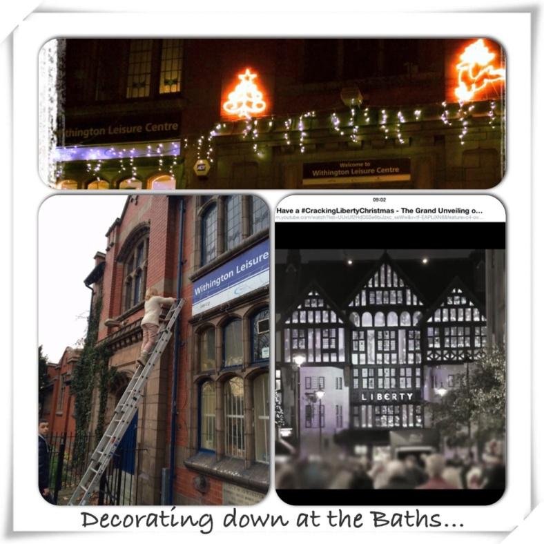 Christmas lights at Withington Baths