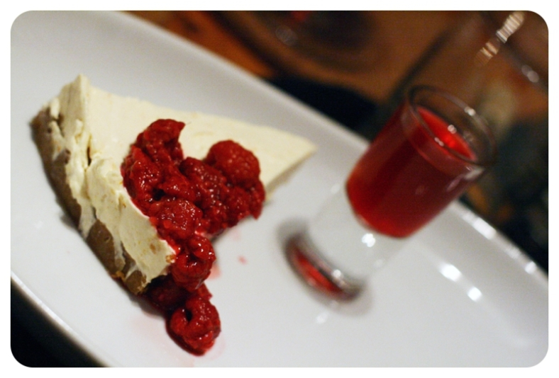 Raspberry cheesecake with a vodka raspberry shot