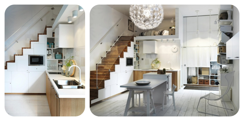 combination of stairs kitchen below and the crisp white and walnut