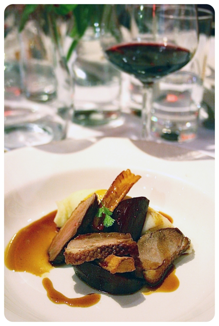 Earl Grey Smoked Duck with parsnip, beetroot and mead