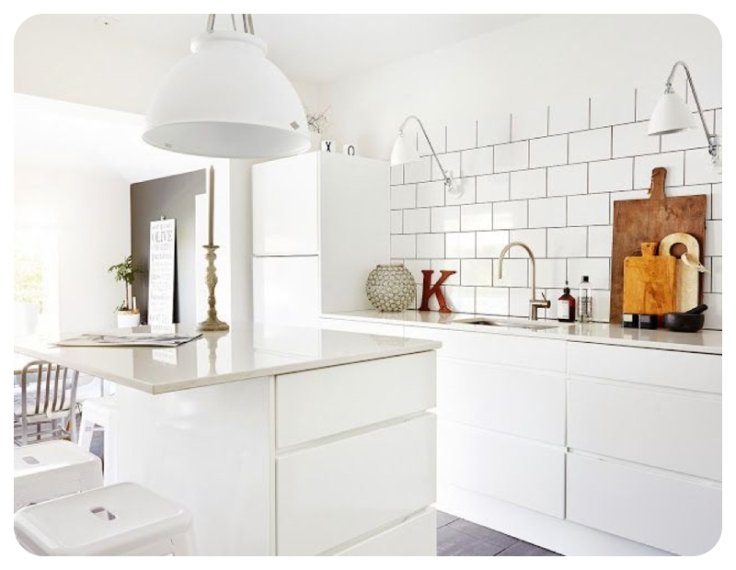 Scandi style interior design using subway or metro tiles