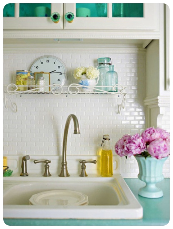 Pretty mini metro tiles used a splashback behind butlers sink