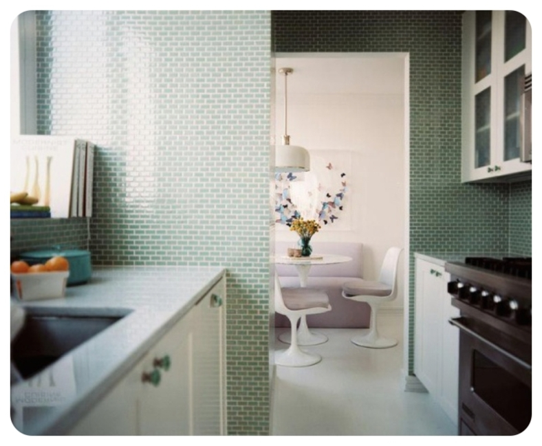 Mini green metro tiles used in kitchen