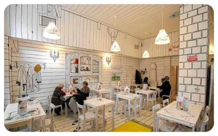 Warsaw cafe with white drawn walls