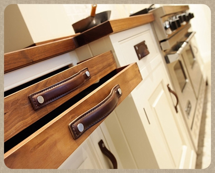 Leather kitchen drawer pulls