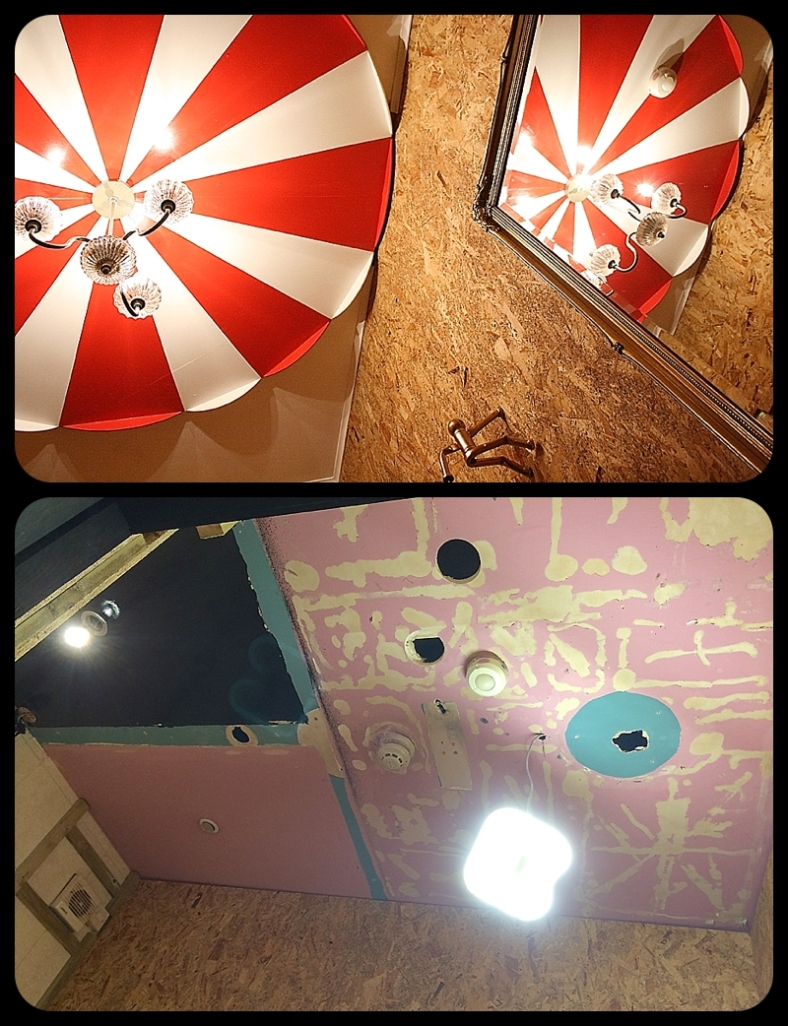Circus ceiling in red and white stripes