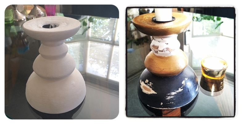 Upcycling a wooden candlestick in graphite grey, white and gold