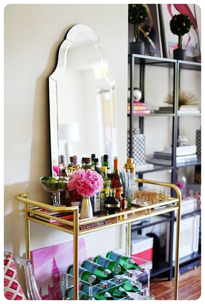 Gold home bar stand