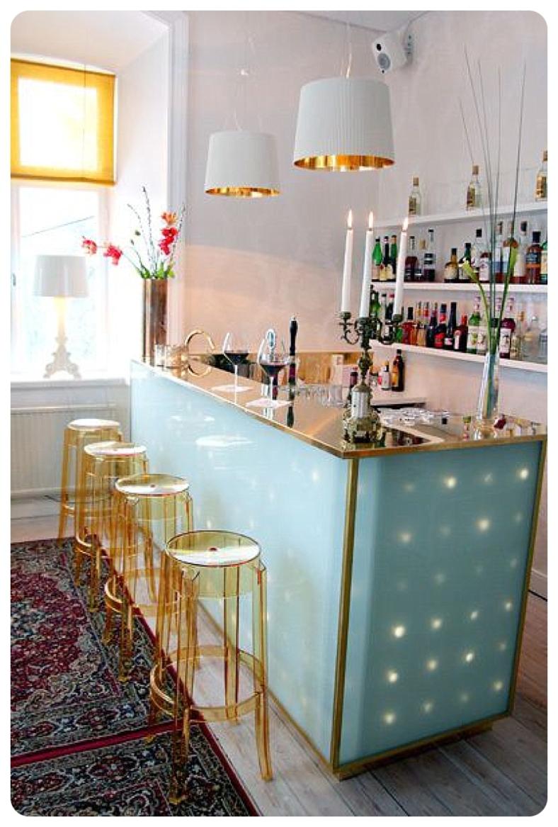 Bright colourful home bar