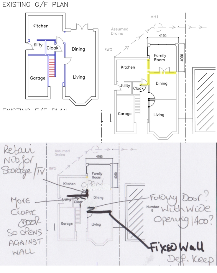 Ground floor extension and knock through diagram
