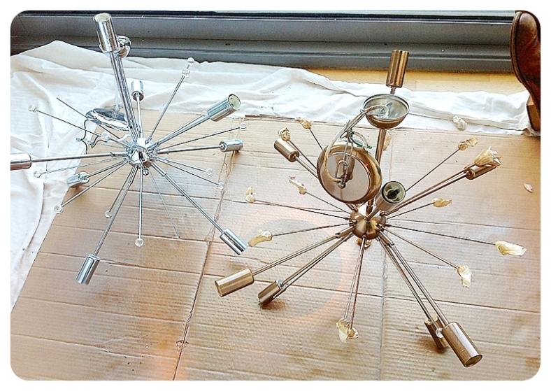 Spraying a silver Sputnik light gold