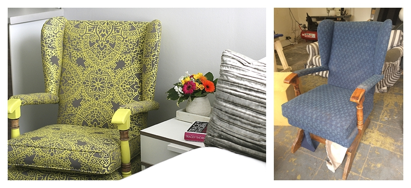 how to add contemporary zing to an old parker knoll style rocking