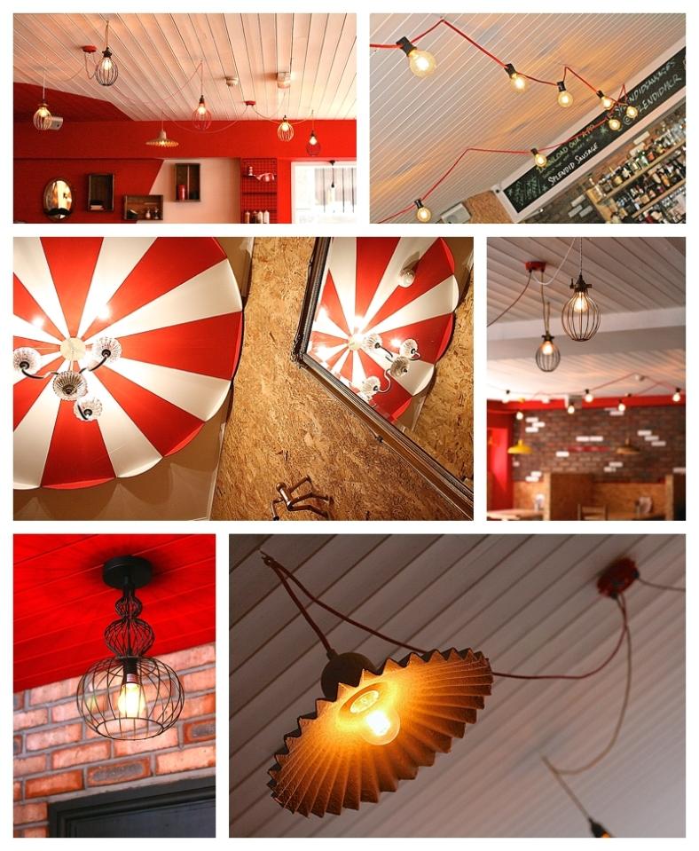 Using industrial lighting, filaments, cage lighting in interior design
